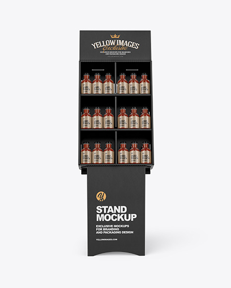 Stand with Salsa Sauce Bottles Mockup