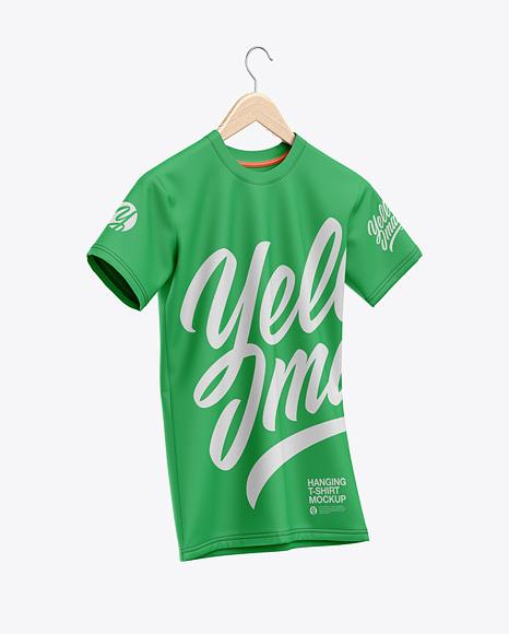 T-Shirt On Hanger Mockup - Half-Side View