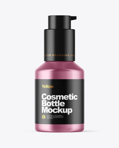 Download Metallic Cosmetic Bottle With Pump Mockup In Bottle Mockups On Yellow Images Object Mockups Yellowimages Mockups