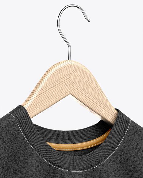 Heather T-Shirt On Hanger Mockup - Half-Side View