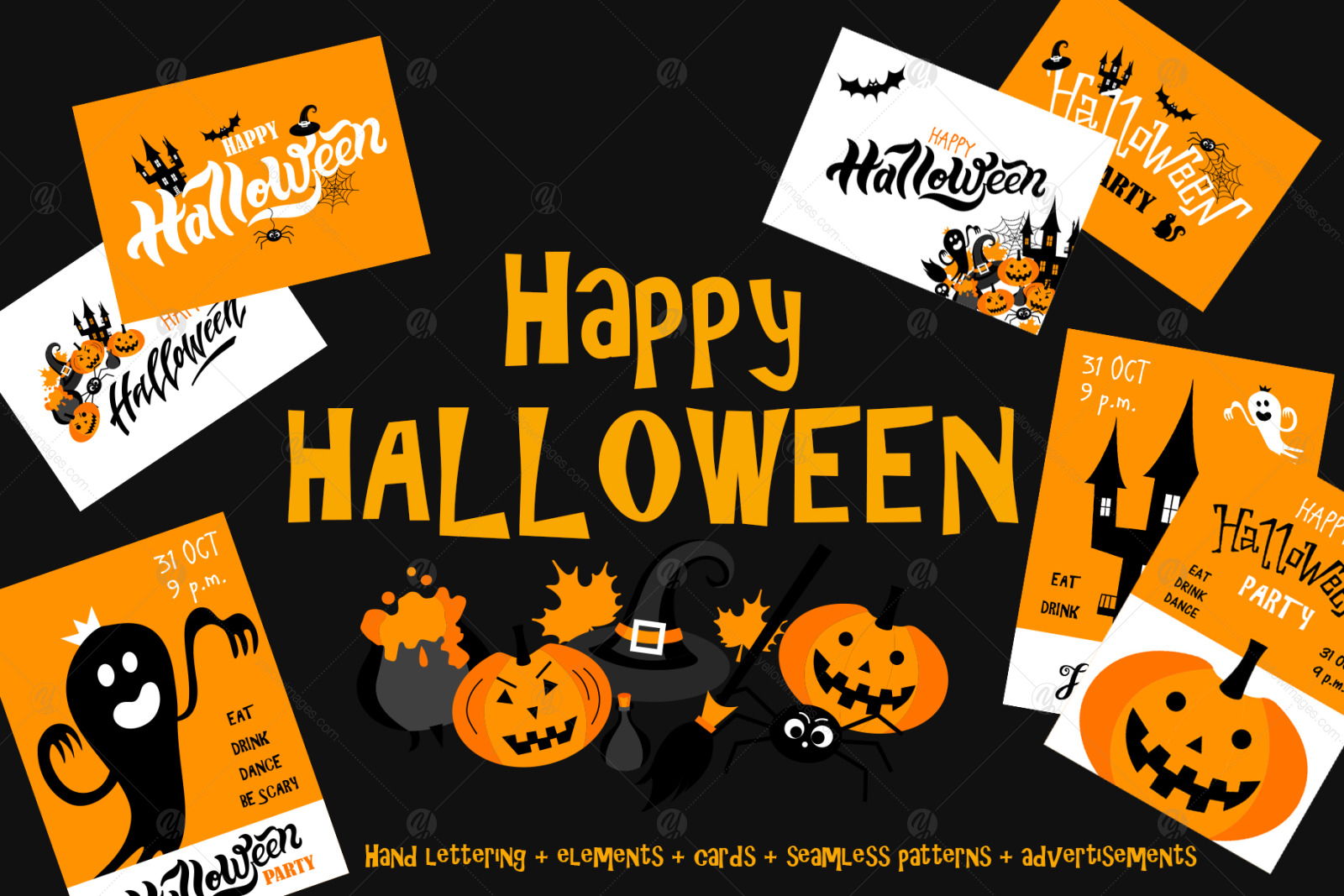 Happy Halloween Set In Illustrations On Yellow Images Creative Store