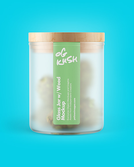 Frosted Glass Jar w/ Weed Buds Mockup