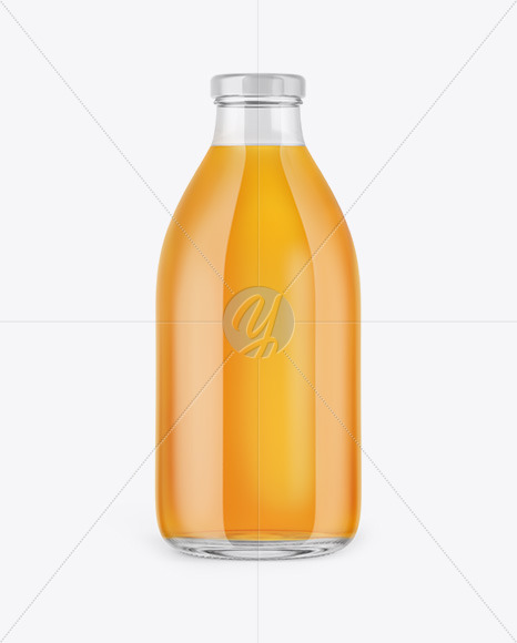 Clear Glass Bottle With Apple Juice Mockup