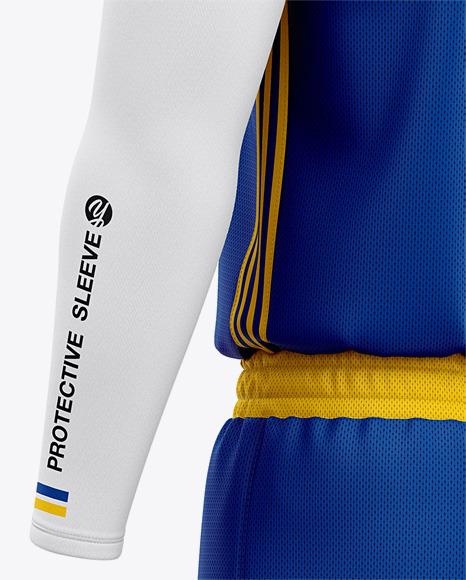 Men's Basketball Kit Mockup - Back Half Side View