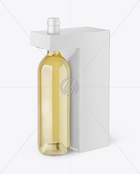 Clear Glass White Wine Bottle With Box Mockup In Bottle Mockups