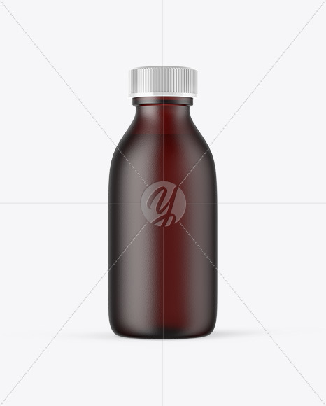 Frosted Dark Amber Glass Oil Bottle Mockup
