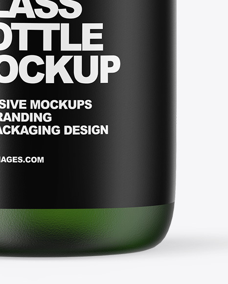 Frosted Green Glass Oil Bottle Mockup