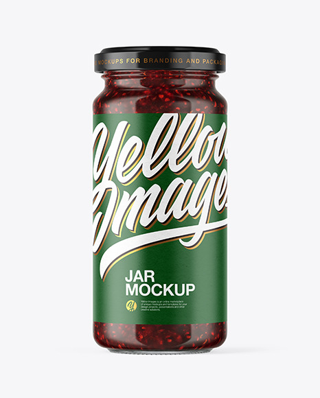 Clear Glass Raspberry Jam Jar Mockup