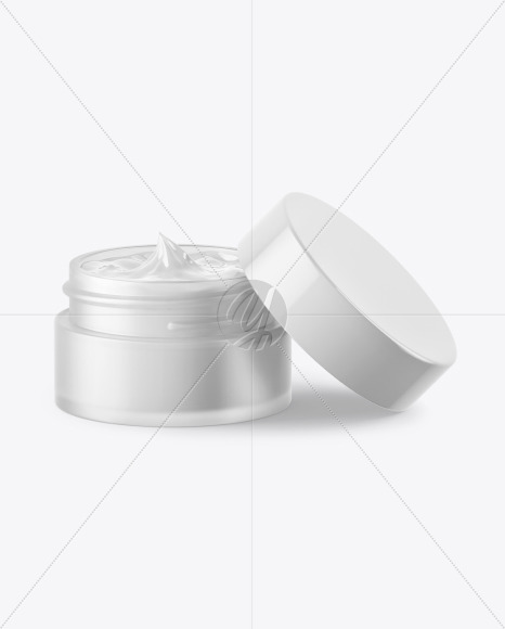 Opened Frosted Clear Glass Cosmetic Jar Mockup