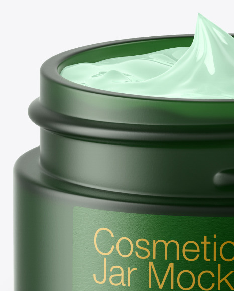 Opened Dark Frosted Green Glass Cosmetic Jar Mockup