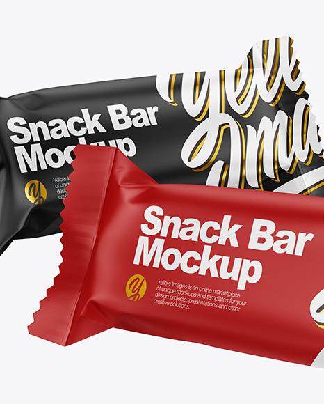 Two Matte Snack Bars Mockup