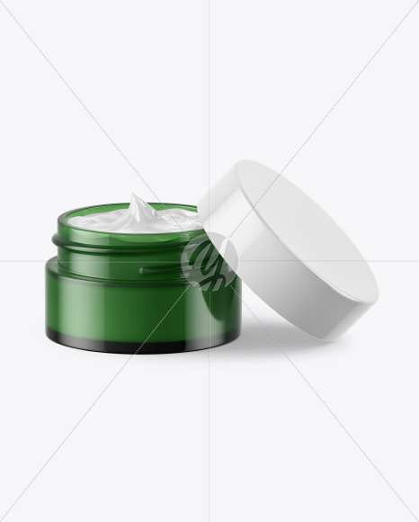 Opened Green Glass Cosmetic Jar Mockup
