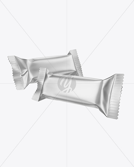 Two Matte Metallic Snack Bars Mockup