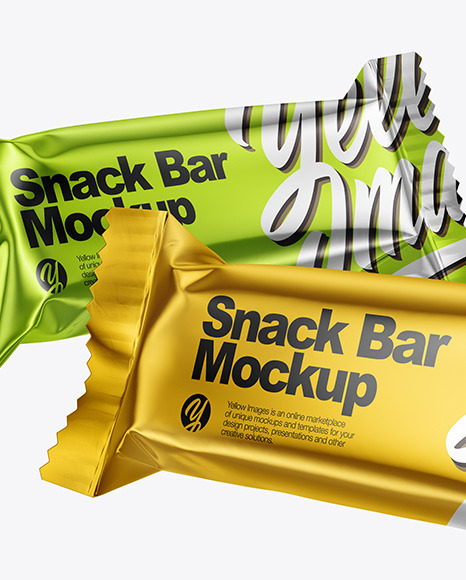 Two Metallic Snack Bars Mockup