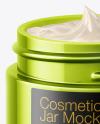 Opened Metallic Cosmetic Jar Mockup