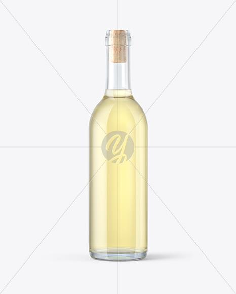 375ml Clear Glass White Wine Bottle Mockup