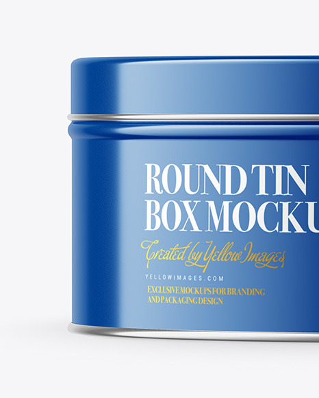 Download Glossy Round Tin Box Mockup In Can Mockups On Yellow Images Object Mockups PSD Mockup Templates