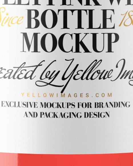 375ml Clear Glass Pink Wine Bottle Mockup