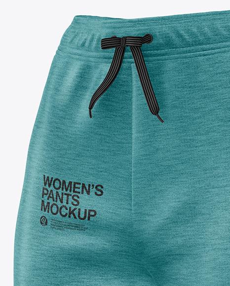 Women's Melange Pants Mockup - Front Half Side View