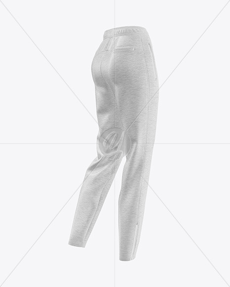 Women's Melange Pants Mockup - Back Half Side View