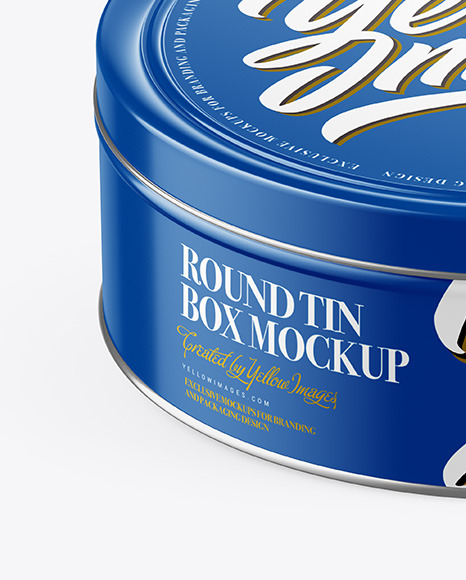 Glossy Round Tin Box Mockup (High-Angle Shot)