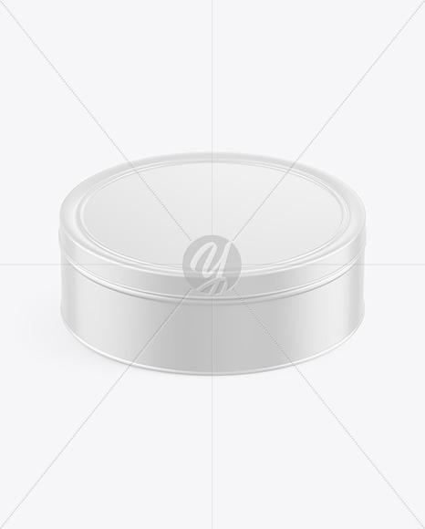 Matte Round Tin Box Mockup (High-Angle Shot)
