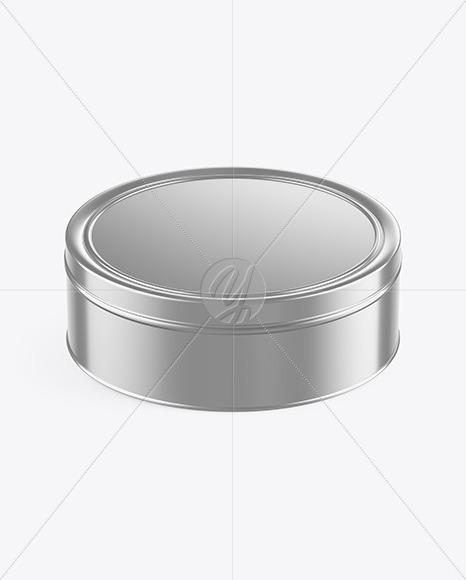 Metallic Round Tin Box Mockup (High-Angle Shot)