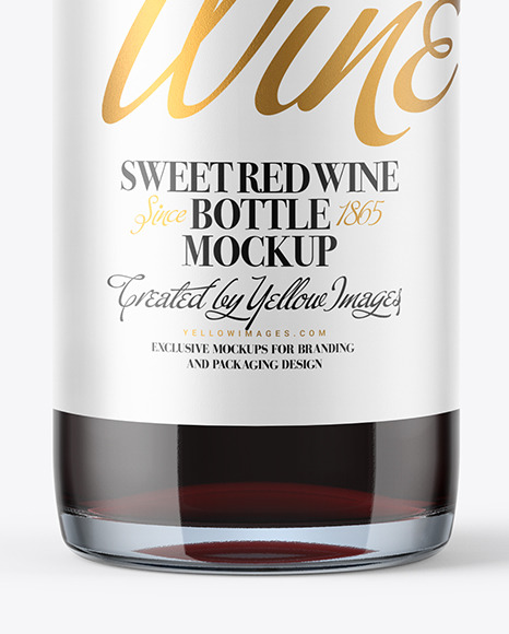 375ml Clear Glass Red Wine Bottle Mockup