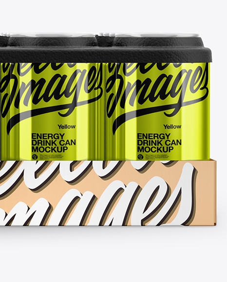 Pack with 24 Metallic Cans Mockup