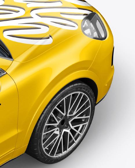 Coupe Crossover SUV Mockup - Back Half Side View (High-Angle Shot)