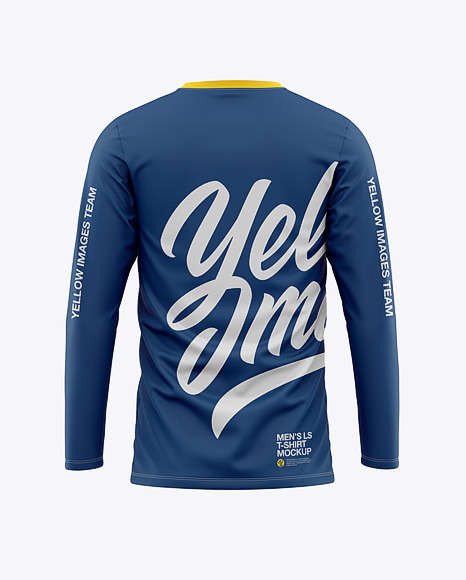 Men's Long Sleeve T-Shirt Mockup - Back View