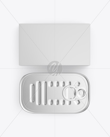 Box with Tin Can Mockup