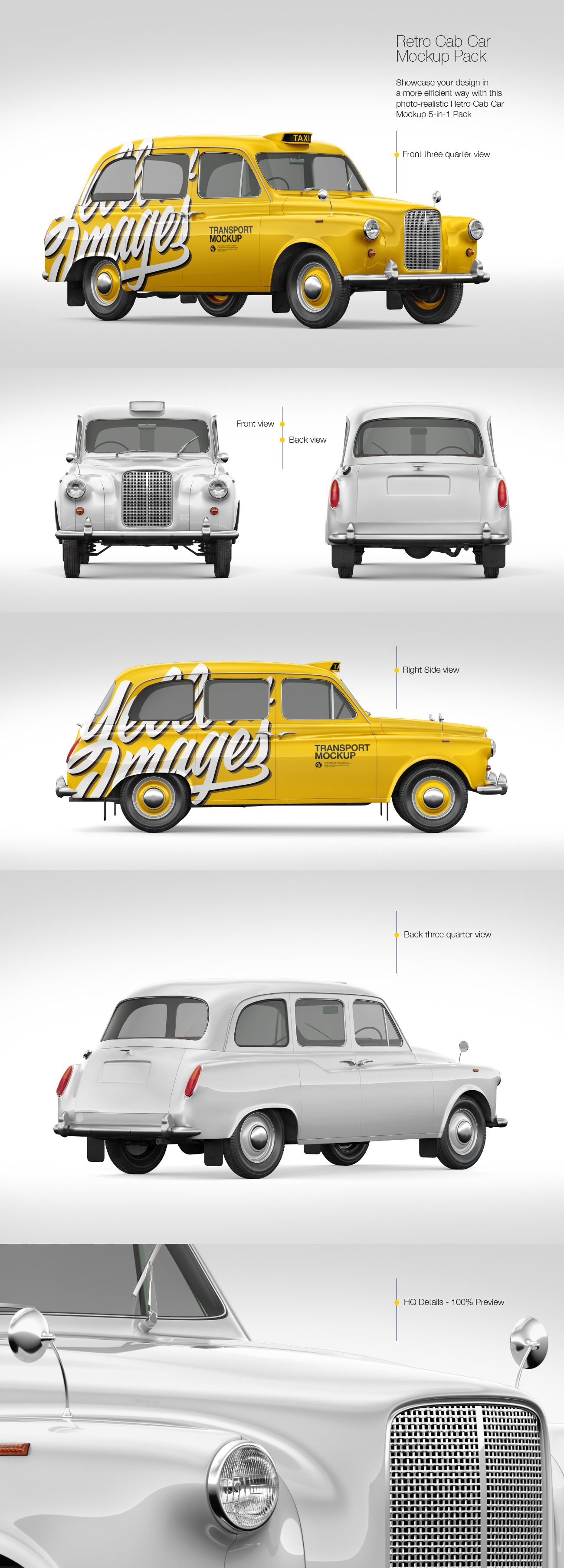 Retro Cab Car Mockup Pack
