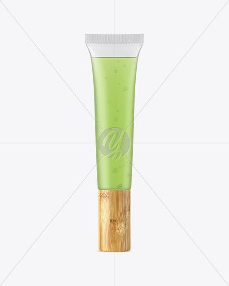 Semitransparent Cosmetic Soft Tube with Bamboo Cap Mockup