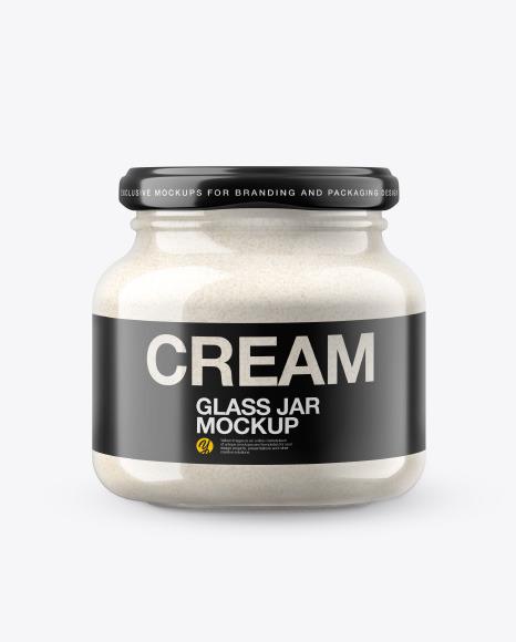 Glass Jar w/h Cashew Cream in Shrink Sleeve Mockup