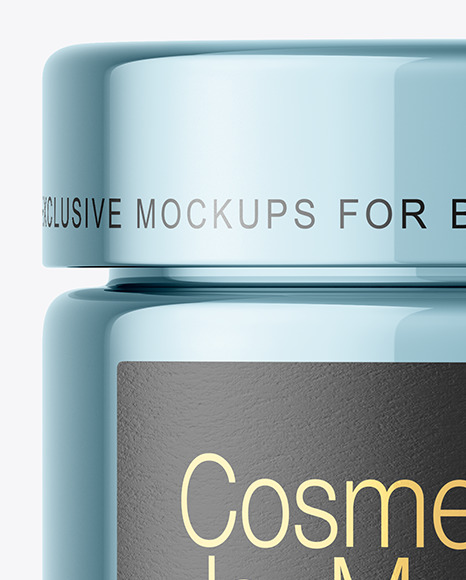 Glossy Metallic Cosmetic Jar Mockup