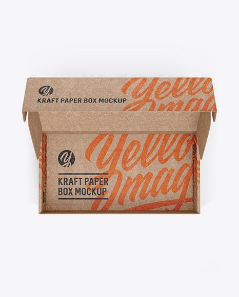 Download Kraft Box Mockup Top View PSD - Free PSD Mockup Templates