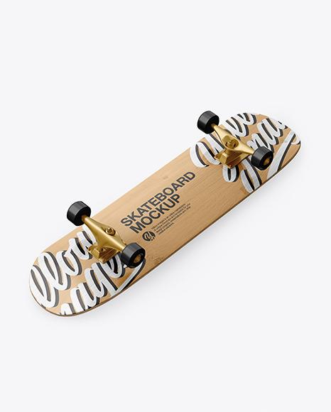 Download Wooden Skateboard Halfside View PSD Mockup