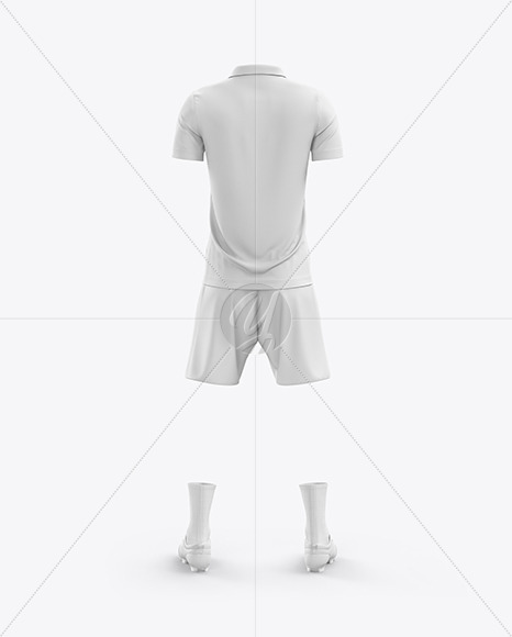 Men's Full Soccer Kit with Open Collar mockup (Back View)
