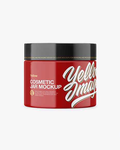 Download Closed Glossy Plastic Cosmetic Jar PSD Mockup