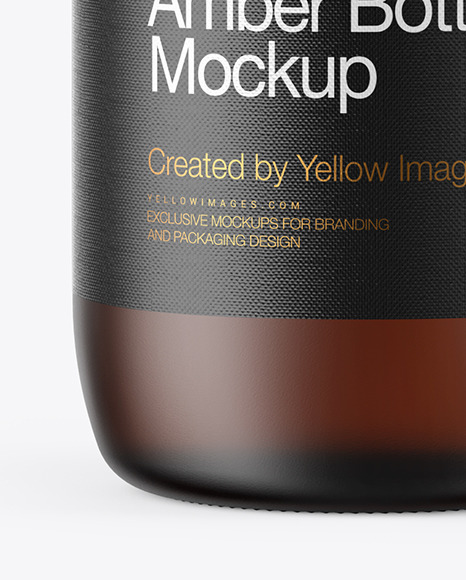 Frosted Amber Glass Bottle Mockup