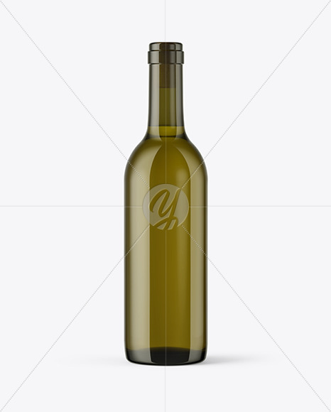 375ml Antique Green Glass Bottle With White Wine Mockup