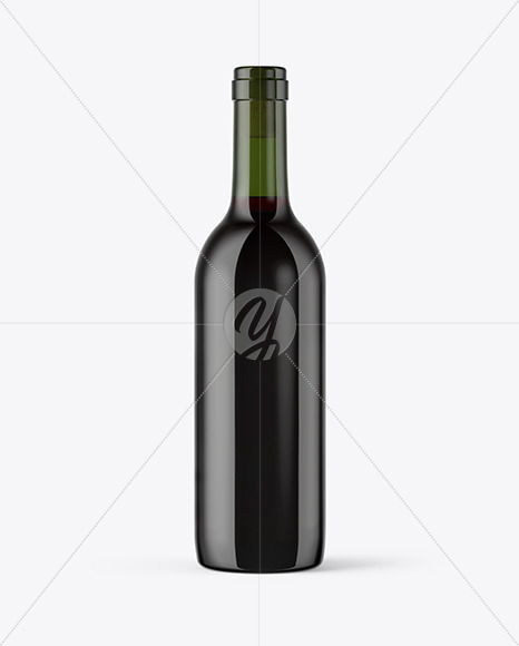 375ml Green Glass Red Wine Bottle Mockup