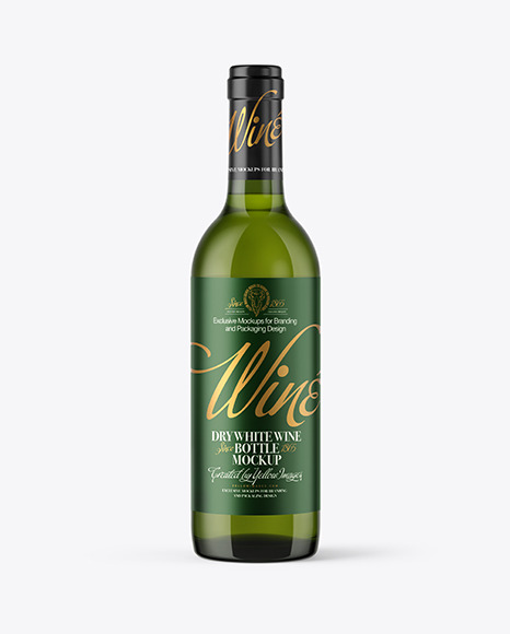 Download 375ml Green Glass Bottle With White Wine PSD Mockup