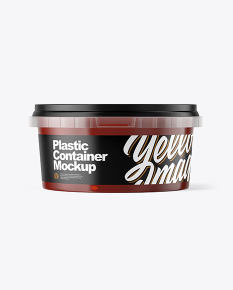 Plastic Container with Sauce Mockup