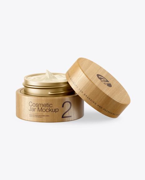 Download Opened Matte Metallic Cosmetic Jar in Wooden Shell PSD Mockup