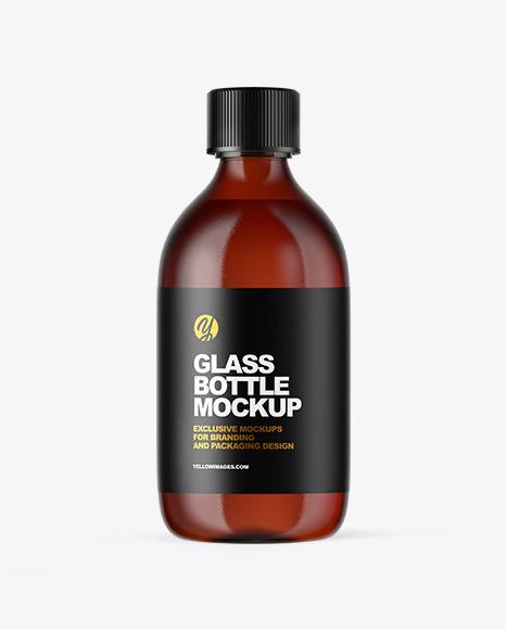 Download Amber Glass Oil Bottle PSD Mockup