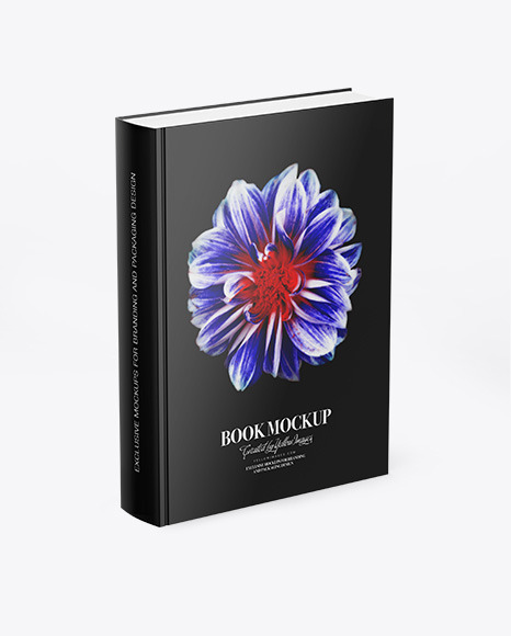 Download Book w Glossy Cover Half Side View PSD Mockup