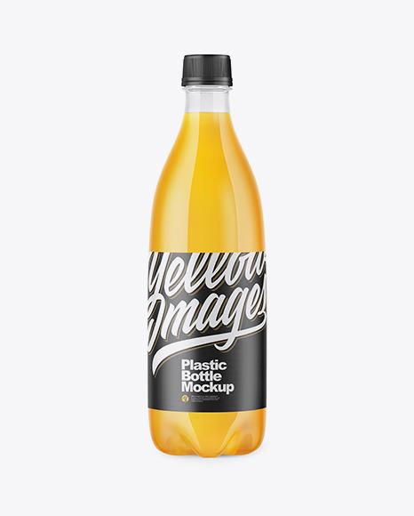 Download Clear PET Bottle with Orange Drink PSD Mockup