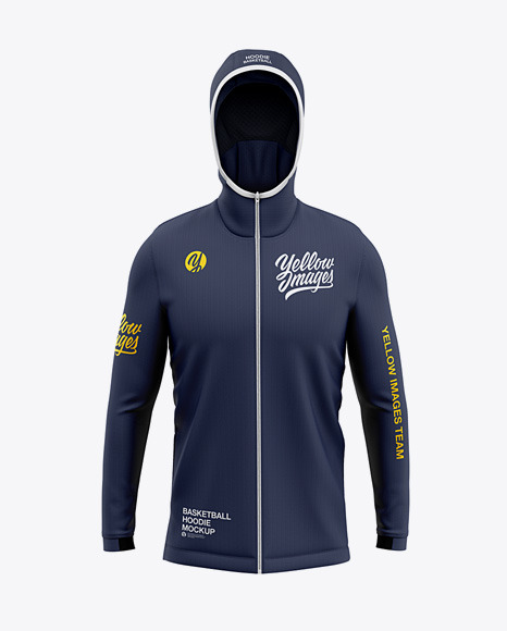 Download Basketball FullZip Hoodie Front View PSD Mockup